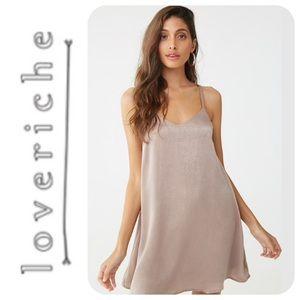 Love Riche Caged Back Satin Mini Dress, L - NWT